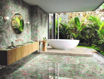 Ambiente diseñado con Amazonite, uno de los mármoles exóticos de APE Grupo